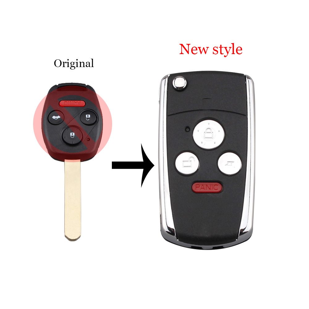 Modified New <font><b>Flip</b></font> Folding 3+1 Button <font><b>Remote</b></font> Key Shell Case Fob For <font><b>Honda</b></font> CRV <font><b>Accord</b></font> Pilot Civic With Uncut Blade image