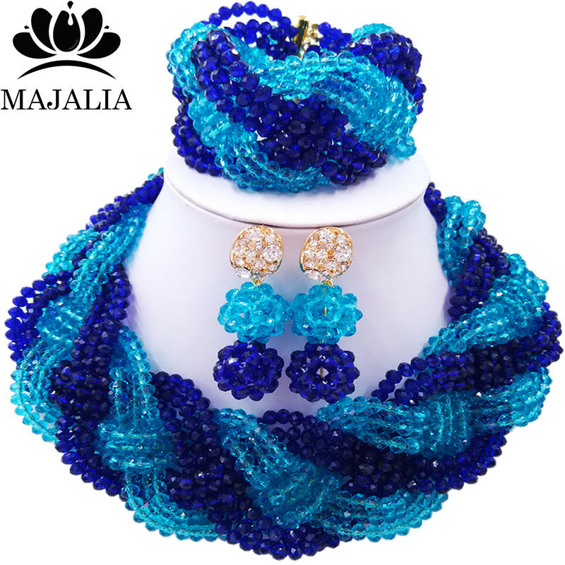 Majalia African Fashion Women Jewelry Set Royal blue Nigerian Wedding Jewelry Beaded Sets 12CB006 majalia african fashion women jewelry set royal blue nigerian wedding jewelry beaded sets 12cb006