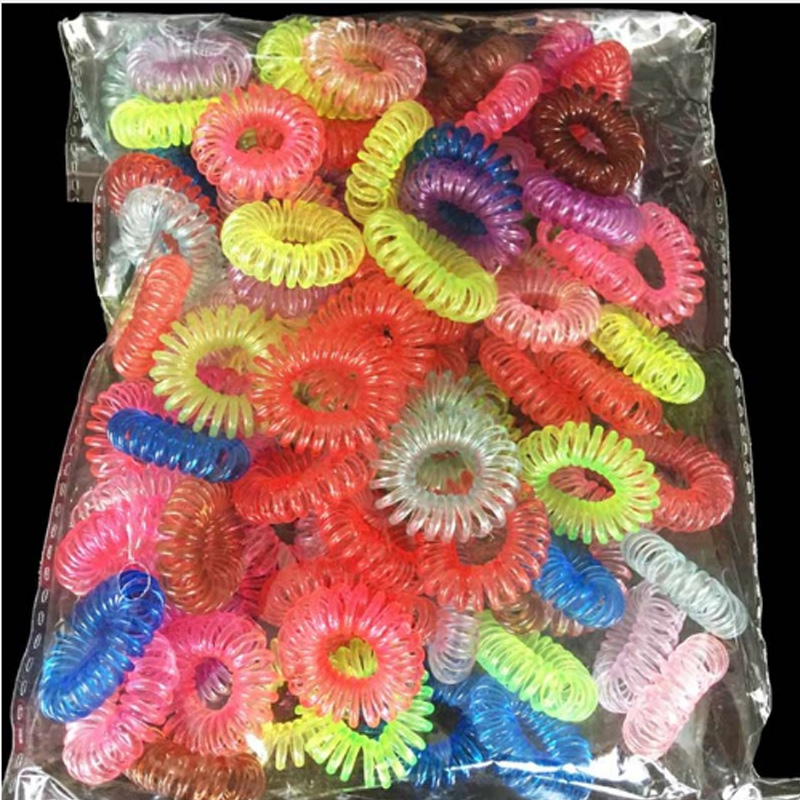 30Pcs Random Color Gum Telephone Wire Elastic Hair Bands Ties Rings Rubber Ponytail Holder Bracelets Headbands Hair Accessories(China)