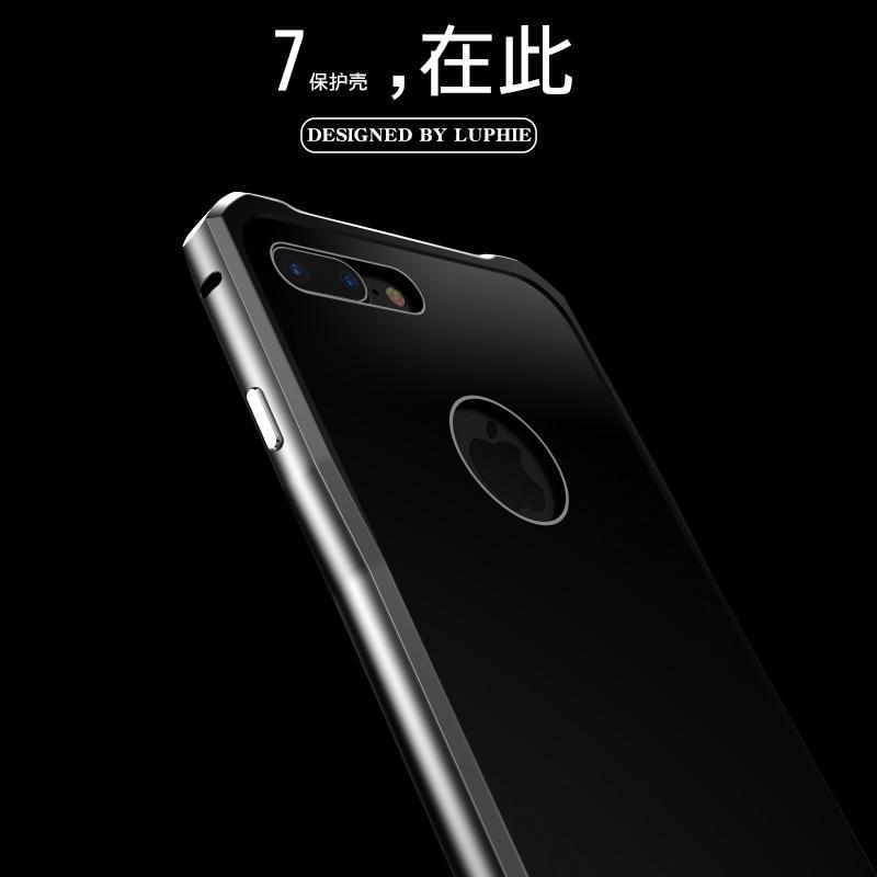 imágenes para Original Luphie Caso Para Apple iPhone 7 Marco de Metal de Aluminio de Lujo + Vidrio templado Contraportada Cajas Del Teléfono Para el iphone 7 Más
