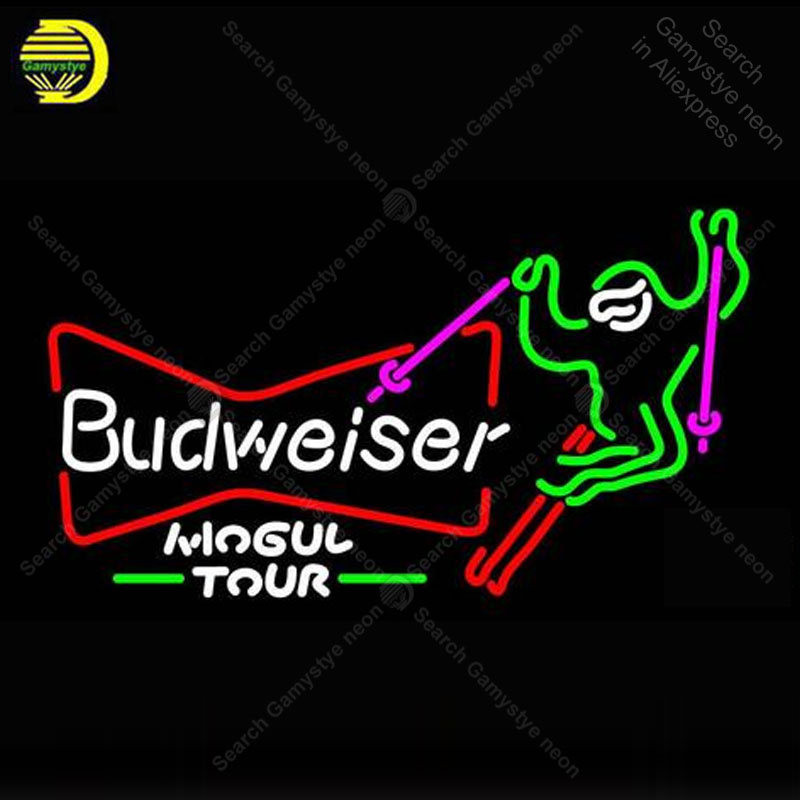 Ski Mogul Budweiser enseigne néon verre Tube ampoules lumière Club icônes lumière bière Pub chambre signes magasin décoration enseigne à la main