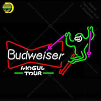Ski Mogul Budweiser Neon sign Glass Tube Bulbs Light Club icons light Beer Pub Room signs Store Decoration Signboard Handmade