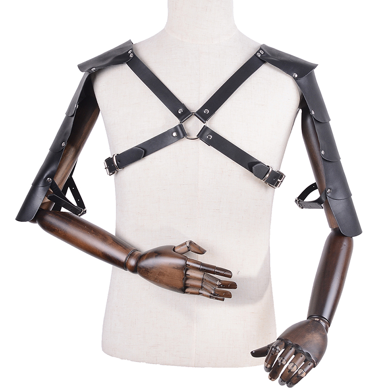 1PCS Black Faux Leather Epaulettes Bondage Shoulder Buckles Belt Burning Festival Body Dance Lingerie