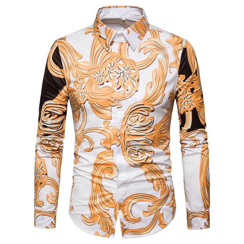 2018 Herren Frühjahr Neue Hemd Tpos Marke Casual Men Atmungsaktive Britische Mode 3d Druck Baumwolle Kleid Langärmeligen Hemd Eu Größe Warm Und Winddicht