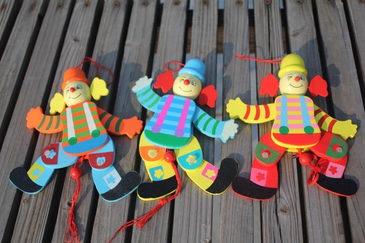 5pcs / lot бебето дървени клоун марионетка играчки / деца деца история разкажете сянка куклен плюш кукла за действие fingure, безплатна доставка