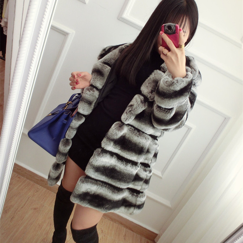 CNEGOVIK High quality chinchilla fur coats for women rex rabbit fur coat with hood real fur