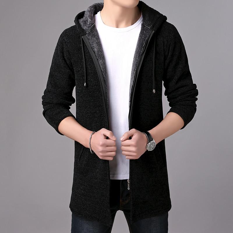 Image 3 - MIACAWOR Brand Sweater Men Hooded Cardigan Men Fleece Warm Sweatercoat Casual Wool Sweater Knitted Jackets Coats Y146-in Cardigans from Men's Clothing