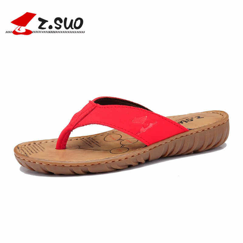 e1bbaf21ecbd57 Z.Suo Red Women Slippers Genuine Leather 2018 Summer Beach Shoes Woman Flip  Flops Rubber