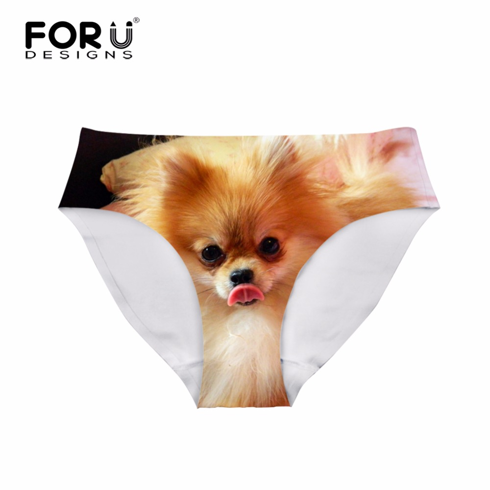 FORUDESIGNS 2018 Brand Women Underwear Ladies Sexy Panties For Girls Cute 3D Pomeranian Dog Womens Briefs Woman Thongs Mujer