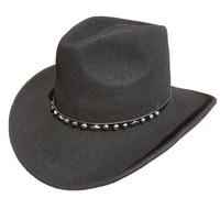 Unisex Black Wool Felt Western Cowboy Hat + FREE SHIPPING
