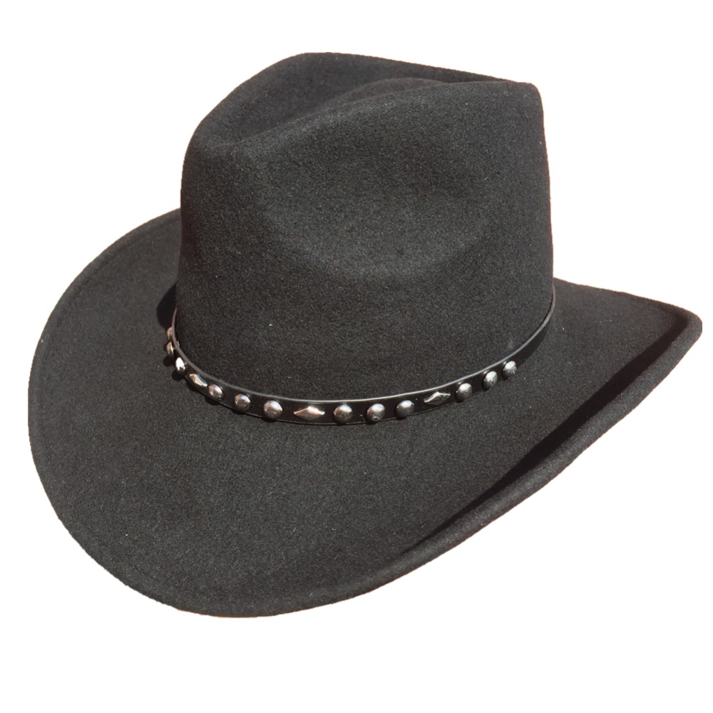 Unisexe Noir Feutre De Laine Western Cowboy Chapeau + LIVRAISON GRATUITE