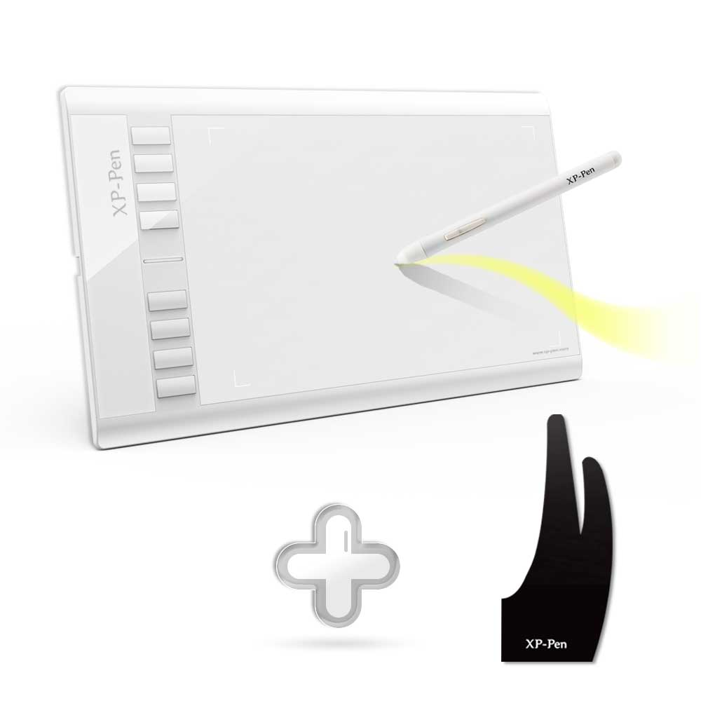 XP-Penna Star03 Tavoletta Grafica Disegno Tablet + xp-penna Anti-fouling Guanto per il Disegno Tablet S /M/L Taglia
