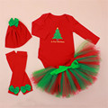 2016 New Christmas Tree Printed Onesie + Skirt + Hat +Leg Warmers 4pcs Sets Lovely Festival Outfits Baby Girl Romper Clothes Set
