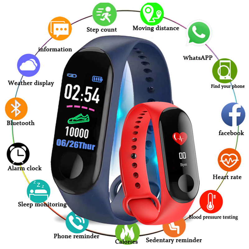 Bluetooth Sport Smart Wristband Blood Pressure Heart Rate Monitor M3 Smart Band Fitness Tracker Pedometer Band for Men Women