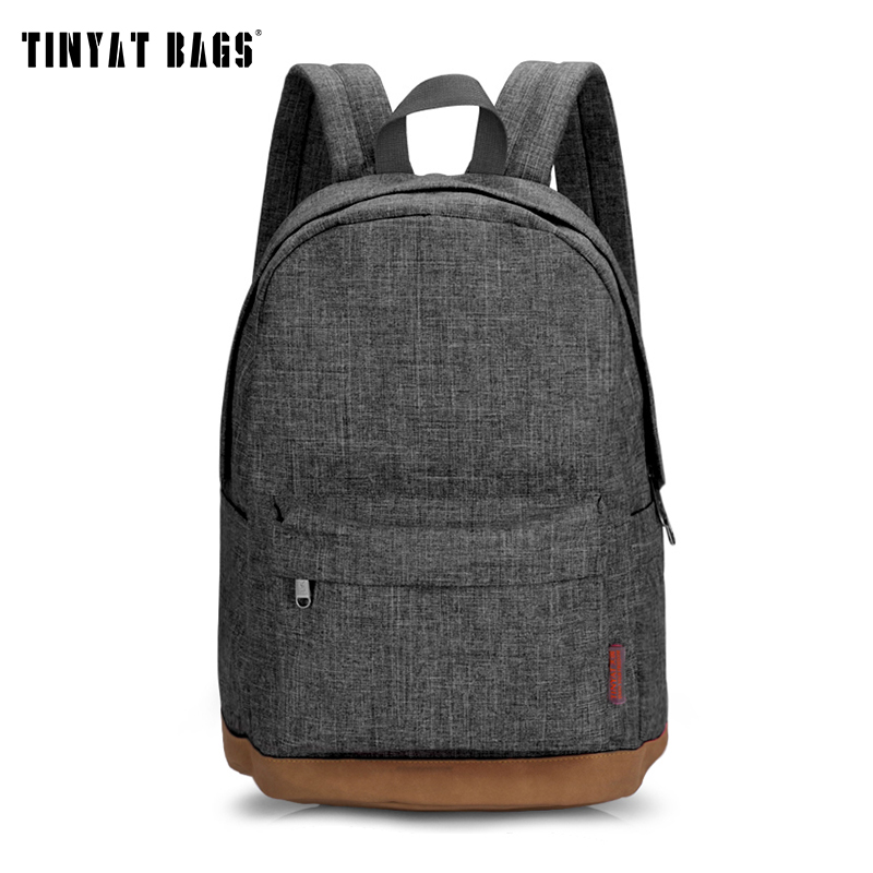 TINYAT Men Male Canvas Backpack Gray Casual Rucksacks 15inch ...
