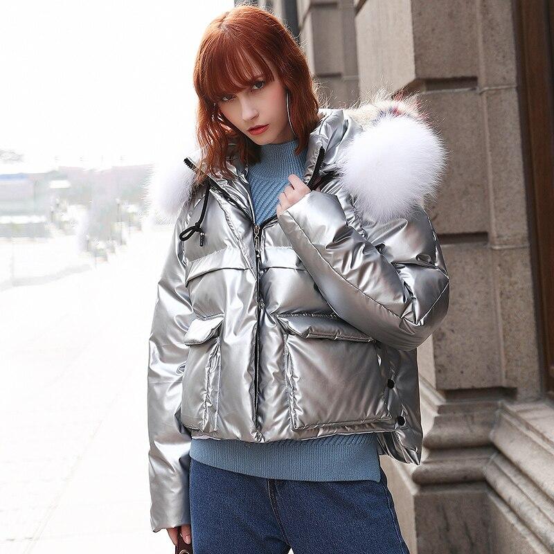 Lâche Tresses Veste Femelle Femmes Chargé 2018 Col Top Coton Manteau Promotion De Fashion Argent Paragraphe Solide Hiver Épais Pain Fourrure WvnW6