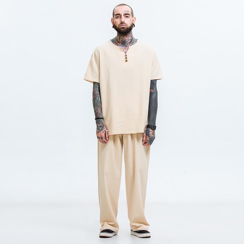 T-shirt hommes hip hop 5xl t-shirts accueil 6xl Grande taille hommes t chemise ensemble M-8XL 9XL t chemise Lin deux -pièce costume t chemises ensembles