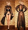 Plus size sexy lingerie Women Round Neck Long-Sleeve Sheer mesh PVC Black Faux Leather Gothic Weave Catsuit Dress Size S-2XL