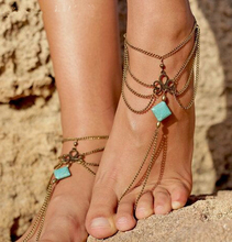 Summer Foot Jewelry Multi Chain Square Turquoise Slave Toe Beach Tribal Anklet Feet For Gift Wholesale