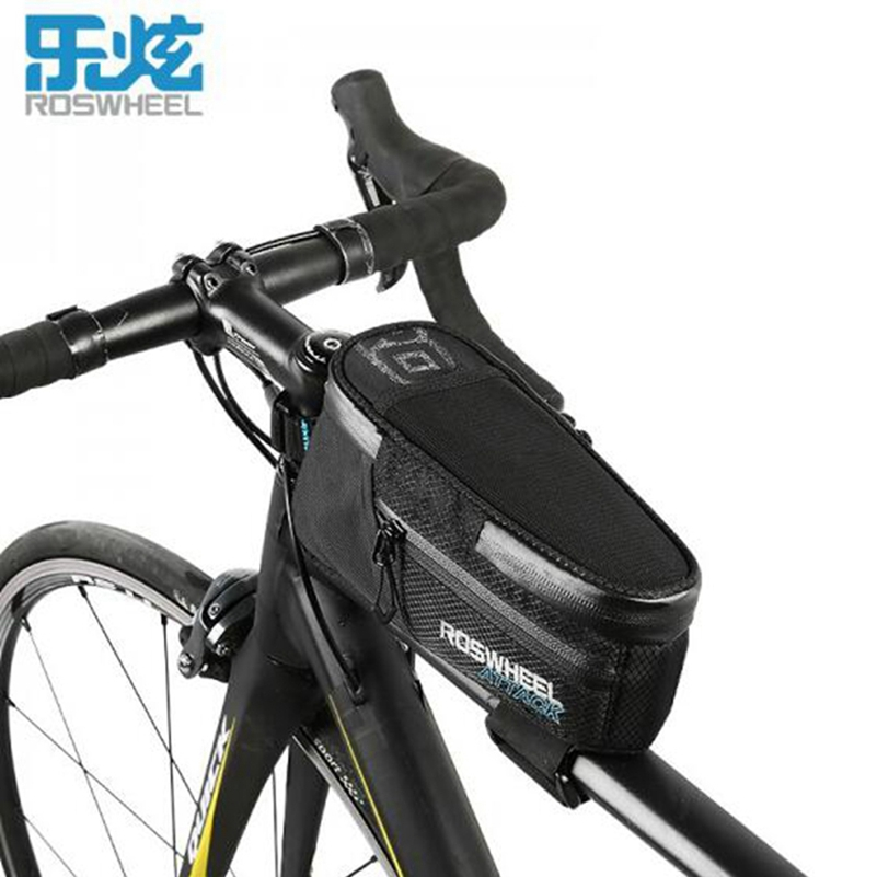 ROSWHEEL bicycle bag Bike top tube bag bike accessories Black Bike mtb cycling bags for smartphone full waterproof ATTACK series roswheel bicycle bag mtb bike front frame top tube bag cycling bags panniers accessories 600d polyester pure color series 12654