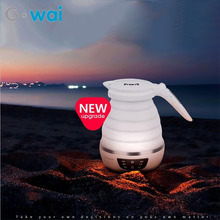 110-240V Portable Folding Compressed Touch Screen Control Electric Kettle Travel Food Grade Silicone Insulation Water