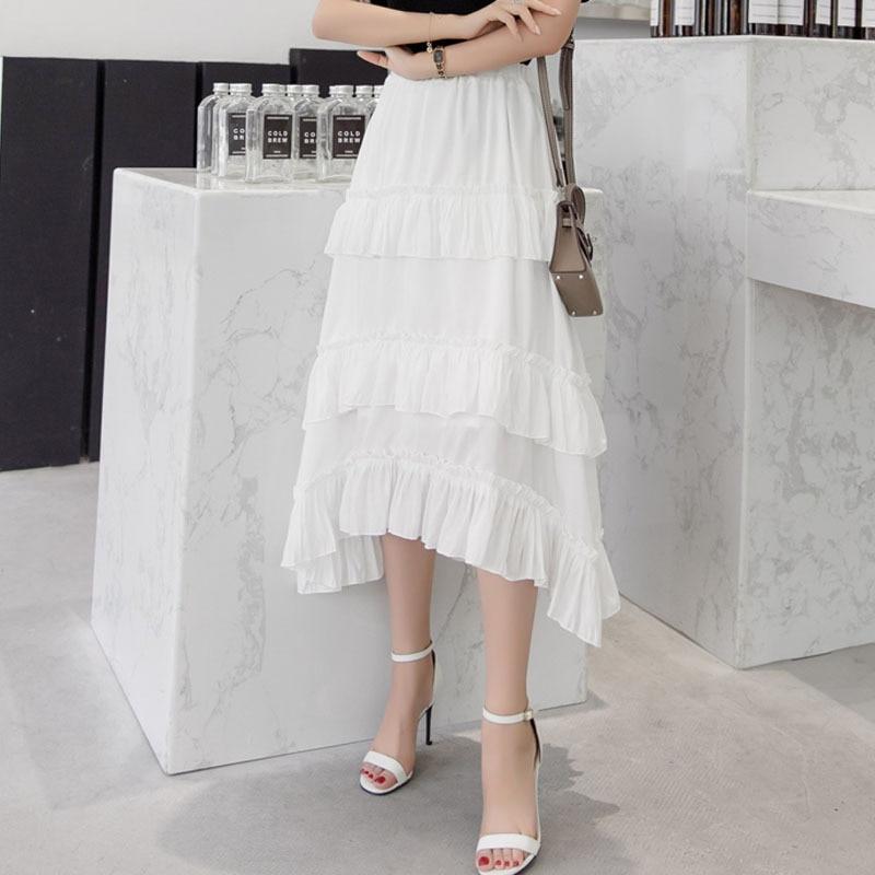 Elastic Hight waist skirts Women's Cake skirts 2019 Summer Chiffon Splicing irregular Ruffles skirt Ladies Skinny skirts Girls Price $41.16