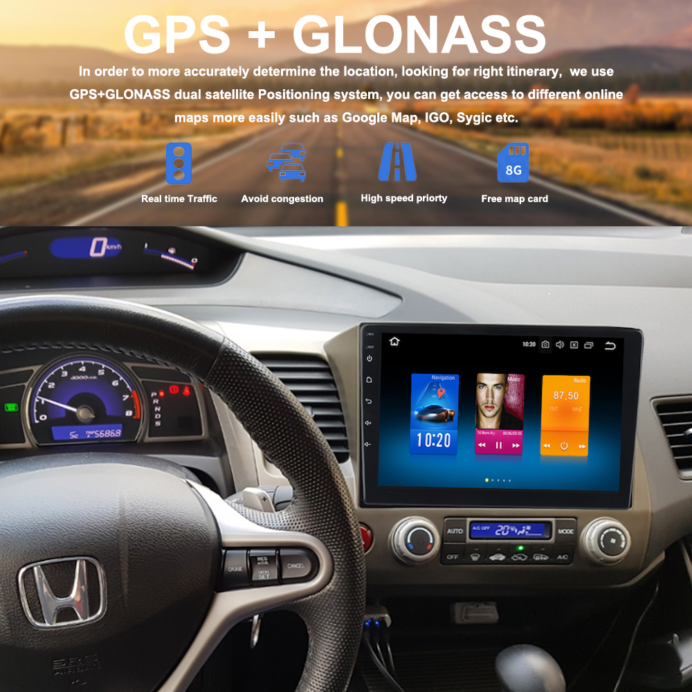 New Honda Civic >> 2 din Car Radio GPS Android 8.0 For Honda Civic 8 2007 ...