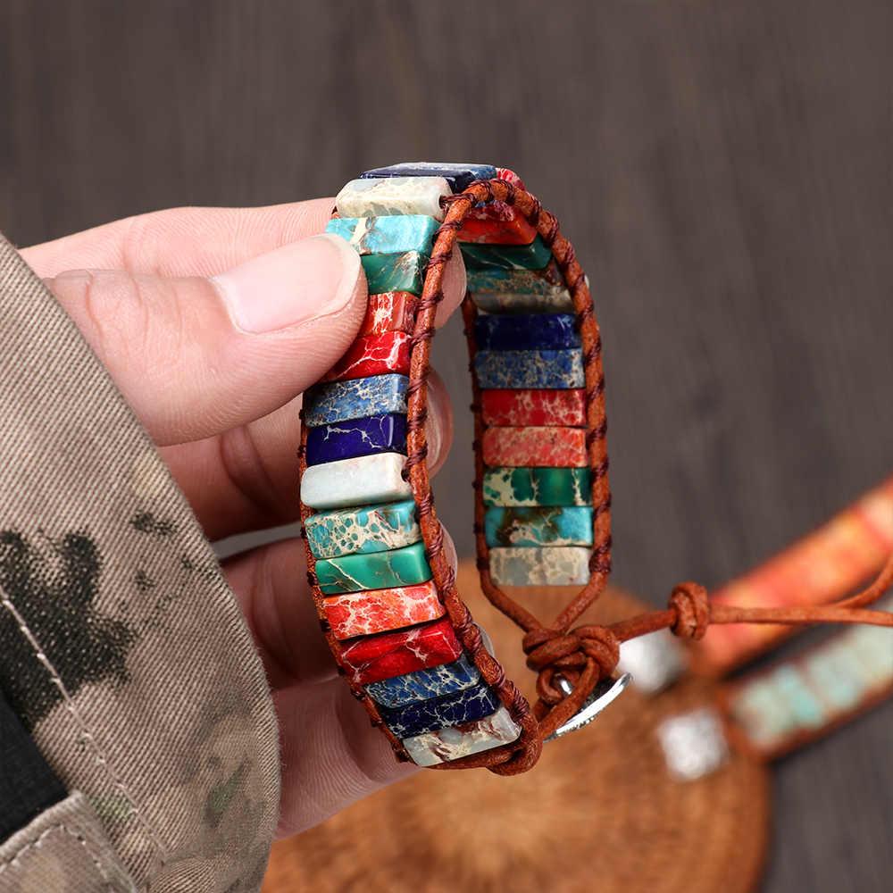 اليدوية 7 شقرا الطبيعي أنبوب الخرز حجر سوار جلد التفاف الشمع موضوع الإسورة للنساء الرجال المجوهرات سوار