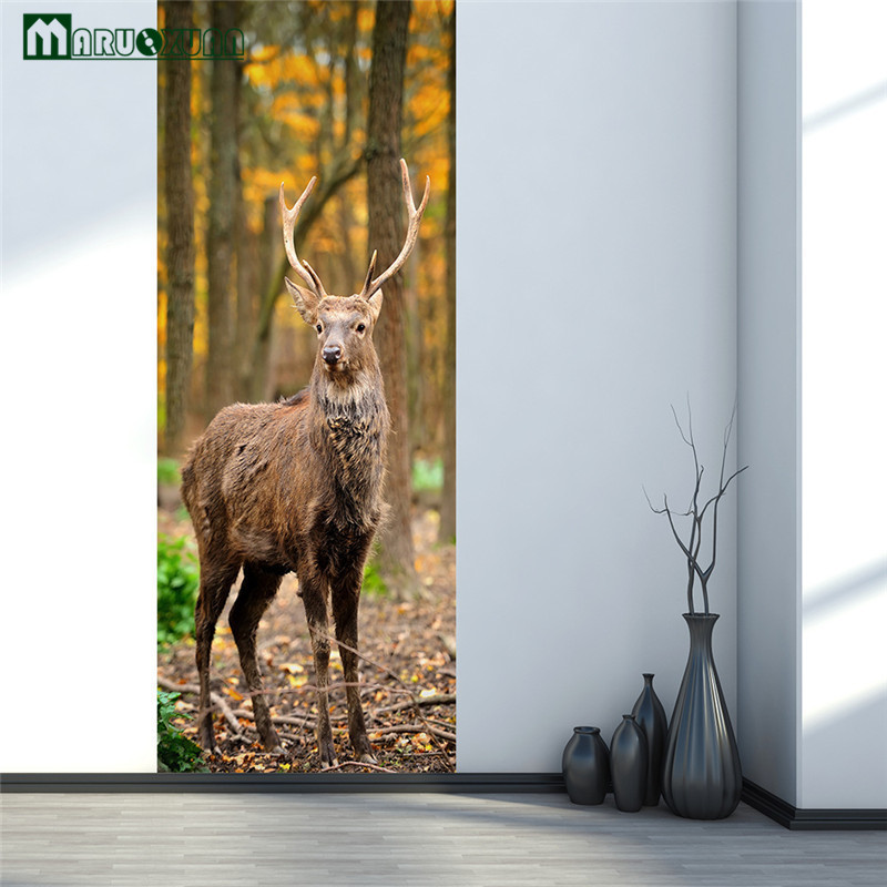 Maruoxuan New 3D Animal Forest Plum Deer Door Paste Home Bedroom Sliding Door Decorative Wallpaper PVC Waterproof Wall Stickers-in Wall Stickers from Home ... & Maruoxuan New 3D Animal Forest Plum Deer Door Paste Home Bedroom ...