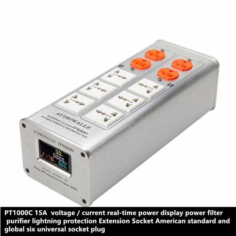 PT1000C 15A AC100-250V напряжение тока в режиме реального времени мощность дисплей фильтр очиститель lightning защита удлинитель 3000 Вт