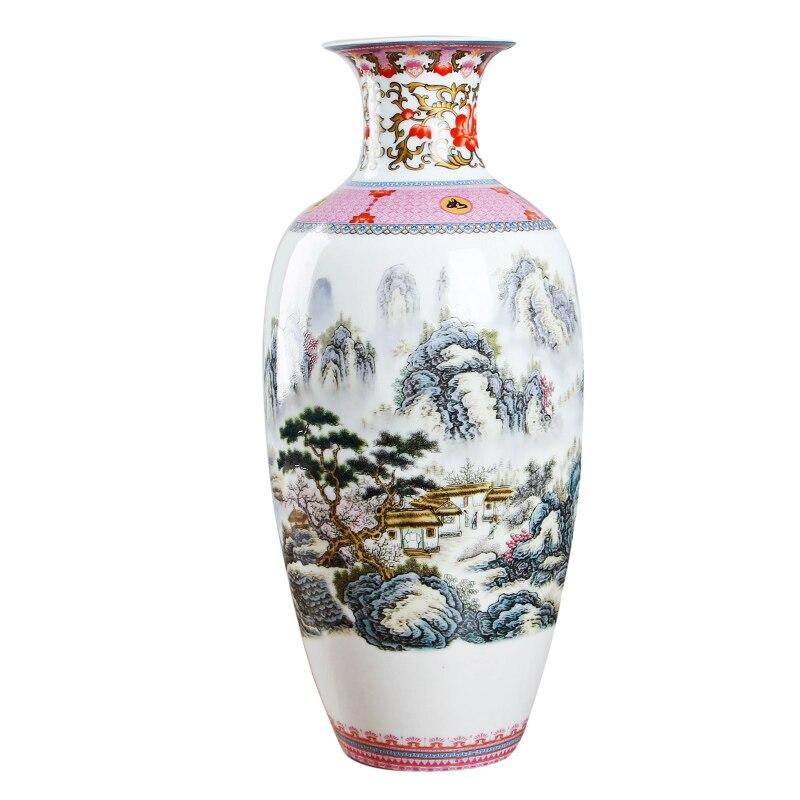 Antique Jingdezhen Vintage Eggshell Ceramic Vase Desk Accessories Crafts Pink Flower Traditional Porcelain Chinese Vase