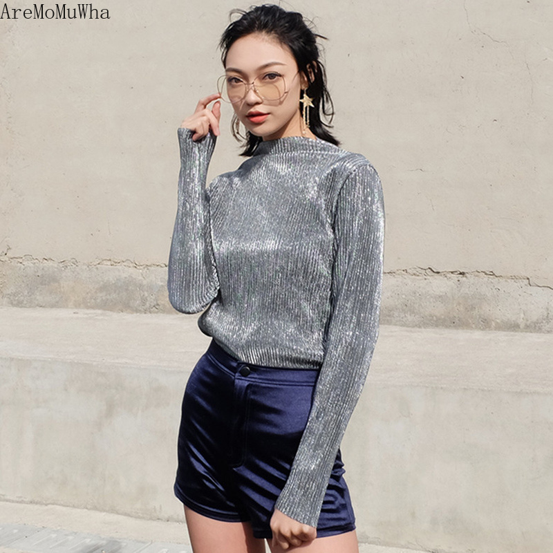 AreMoMuWha New Korean Women's Slim Shiny Long-sleeved Shirt Tops Thin Metal Half-high Collar Bottoming Shirt Women Tshirt  QX818