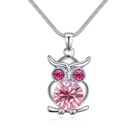 2017 New Arrival Owl Necklace Rose Gold Plated Fashion Necklace For Women Austrian Crystal Pendant Statement