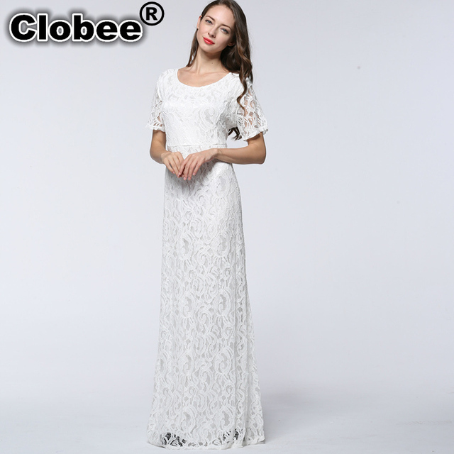 ebe7107a2bc78 US $23.79 49% OFF|Clobee 2017 Summer Elegant Club Party Women Lace Dress  White Black Hollow Out Sexy Open Back Plus Size Long Vestido de festa-in ...