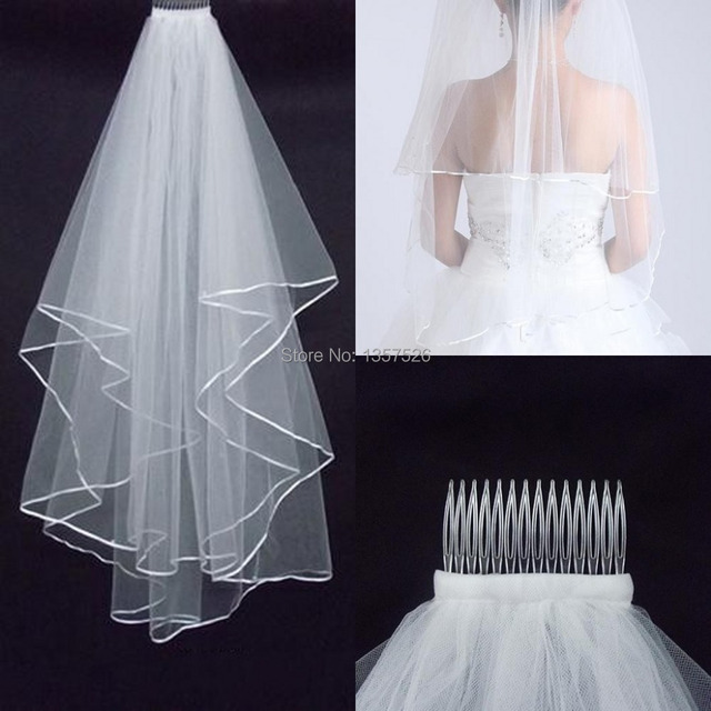 Cheap 2017 Real Sample Stock 2 Layer White Wedding Veils For Dresses Bridal Gowns