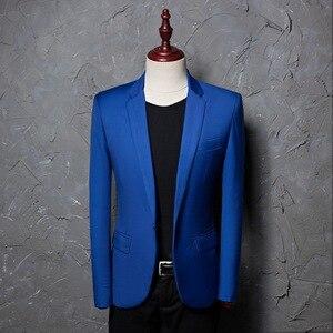 Image 2 - Şarkıcı kostümleri Blazer ceket erkekler katı çentikli yaka Slim Fit sarı düğün elbisesi takım elbise DJ balo parti abd boyutu Terno Masculino