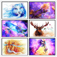 5D diy diamond paint round full colorful animal 3D embroidery cross stitch mosaic home decoration