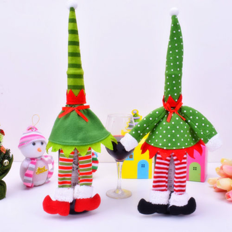 Cute Merry Christmas & Red Wine Bottle Cover Bag Decoration Home Party Ornaments Holiday DIY Decoration