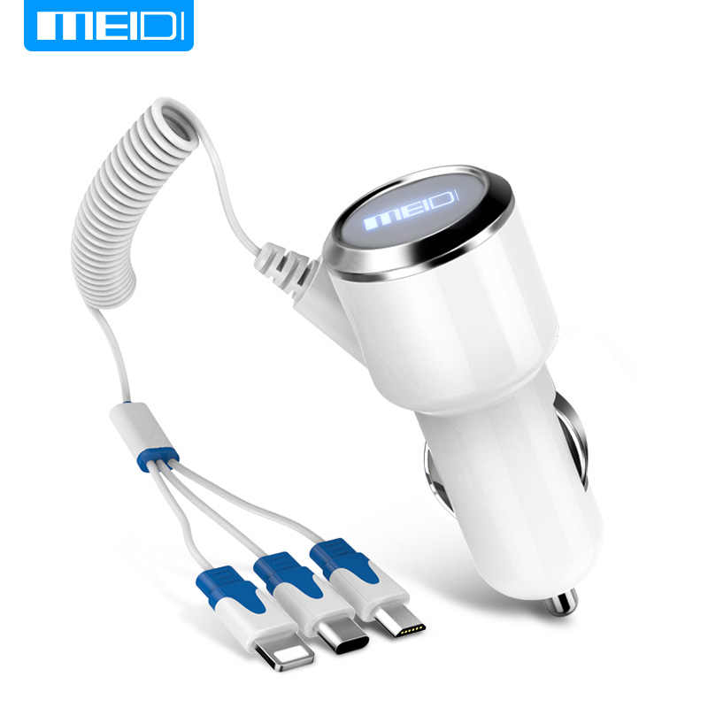MEIDI 3 USB Car Charger Mobile Phone Charger With Cable  Micro USB Type C Lighting Cable For SamsungS7 Xiaomi Type C in Stock