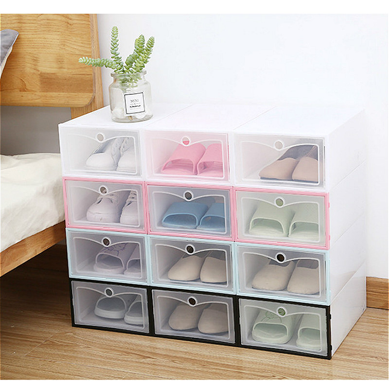 6Pcs/set Shoe Storage Box Translucent Plastic Drawer Case Organizer Stackable DIY Thickened Shoes Boxes Rack Drawer Organizer