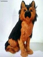 simulation wolfhound dog hard model polyethyleneℜ furs black squatting dog 34x32cm handicraft decoration gift s0810