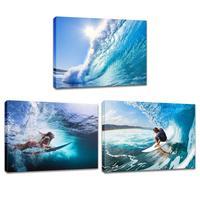 Морская волна Печать холст стены искусства Surfer серфинг водного спорта картина живопись синий океан современный декор 3 предмета Перевозка