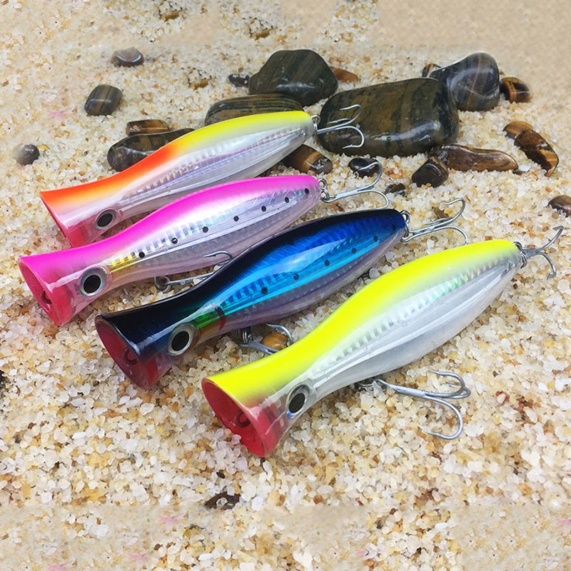 1Pcs popper fishing 3d augen with treble hooks 12cm 42g topwater hard lure soft plastic isca artificial fishing lure tackles