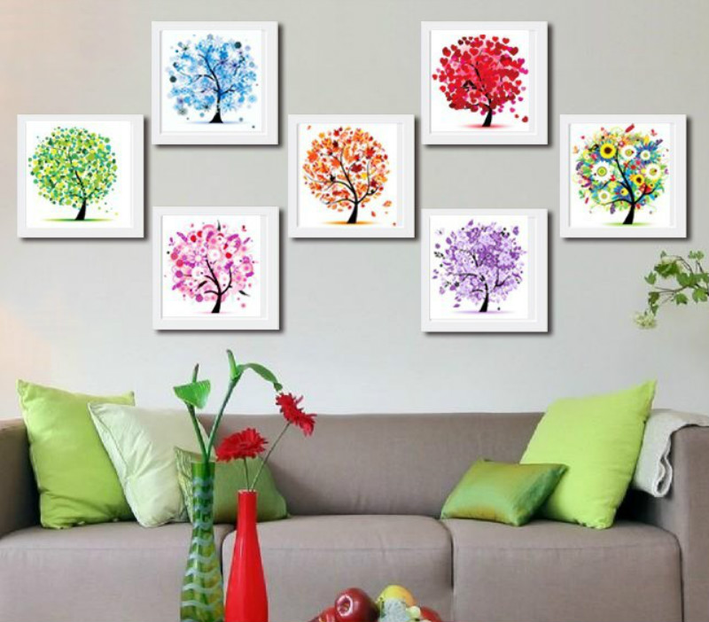 Diamond Embroidery Four Seasons Trees Picture 5d Diy Diamond Painting Needlework Diamond Cross Stitch Home Decor Gift