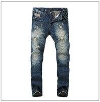 جديد وصول تصميم جودة عالية العلامة التجارية الشهيرة الرجال جينز مستقيم الدنيم القطن السائق جينز الهيب هوب زائد حجم السراويل الجينز أوم