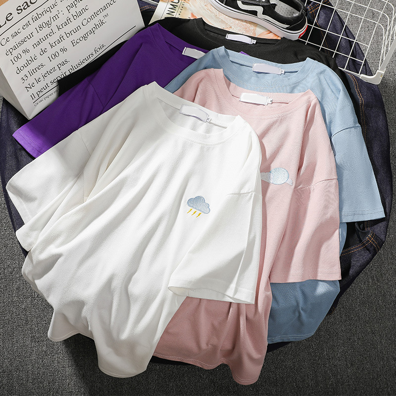 2019 Summer New Korean Version Of  Tide  Ins Short-sleeved T-shirt Female Loose Students Wild Half-sleeved Clothes