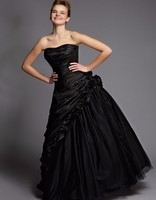 Sexy Victorian Gothic Wedding Dresses Black Taffeta Sweetheart Dress Beads Ruched Corset Bodice Bridal Gowns Vestido