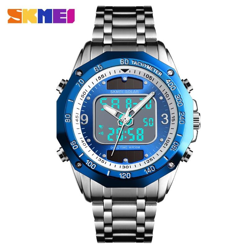 SKMEI Brand Solar Watch For Men Blue Stainless Steel Dual Display Digital Led Quartz Men Watch Male Clock Relogio Masculino