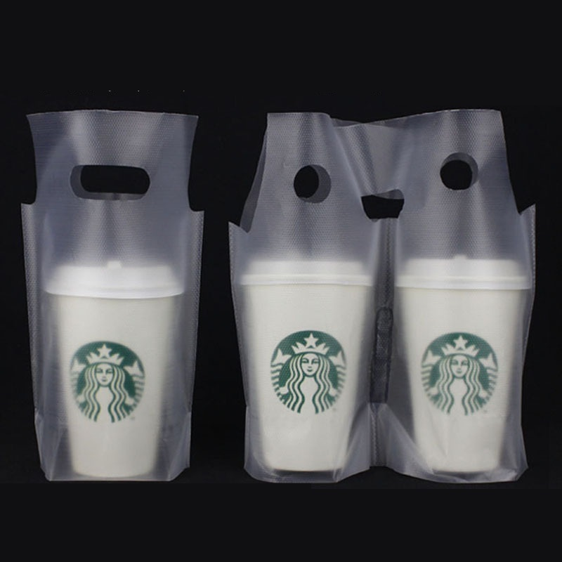 3000Pcs Lot Clear Plastic Beverage Carrier Take Out Bag Two Design Drinking Cola Cup Packing Handle