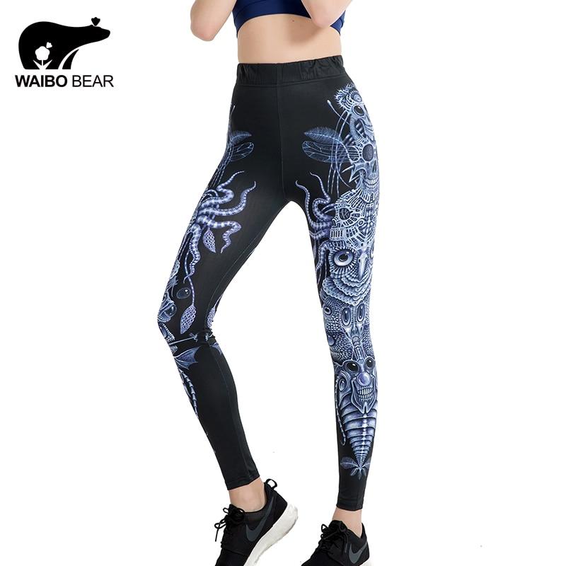 2017 Ethnic Style Owl 3D Print   Leggings   Pentagram Geometric Polka Dot Patterns Slim Pants Fitness Workout Leggins WAIBO BEAR